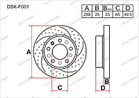 Диск тормозной передний комплект (2шт.) JZW615301J