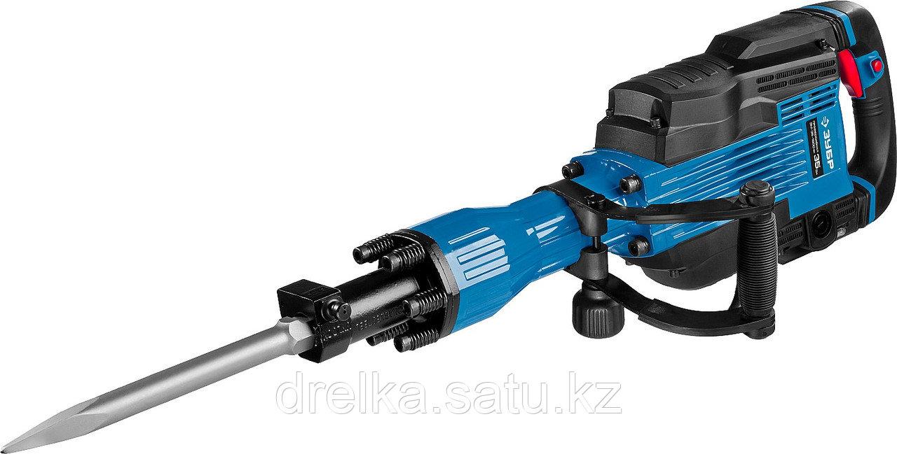 Отбойный молоток электрический ЗУБР ЗМ-35-1600 ВК, бетонолом, HEX-30, 35 Дж, 1300 уд/мин, 1600 Вт, АВТ,