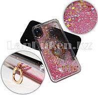 Чехол на Айфон 10 (iPhone X) полупрозрачный с переливающимися блестками c кольцом розовый