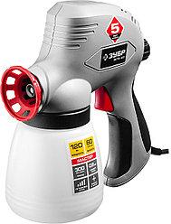 Краскопульт электрический ЗУБР ЗКПЭ-120, краскоперенос 300 мл/мин, вязкость краски 60 DIN, 0,8 л, 120 Вт.