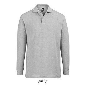 Рубашка поло мужская | с длинным рукавом | Sols Star L | Серый