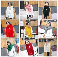 Вязаный шерстяной шарф, осен-зима.