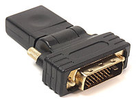 Переходник PowerPlant HDMI AF - DVI (24+1) AM, 360 градусов