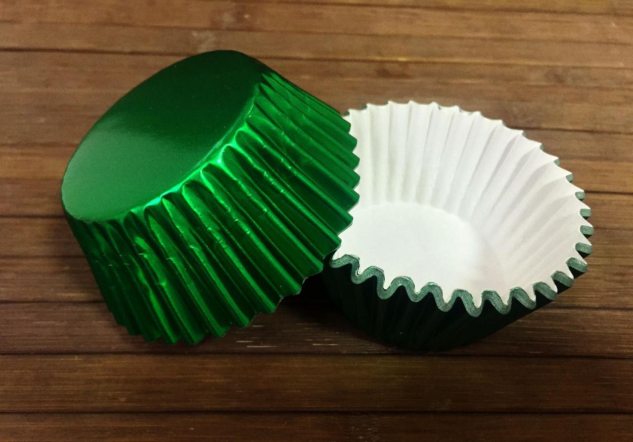 Формы бумажные фольгированные зеленые