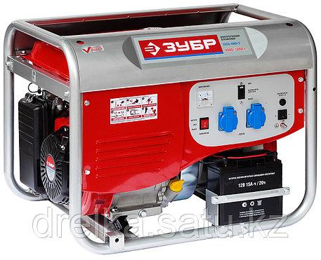 Бензиновый электрогенератор ЗУБР ЗЭСБ-4000-Э, двигатель 4-х тактный, ручной и электрический пуск, 220/12В, фото 2
