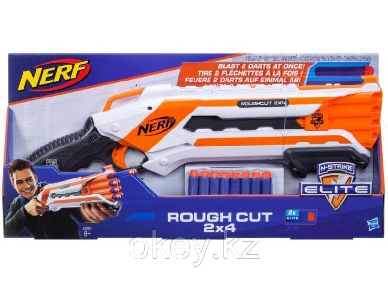 Оружие для детей Hasbro Nerf: Бластер Элит Рафкат — N-strike Elite Rough Cut 2x4 Blaster A1691