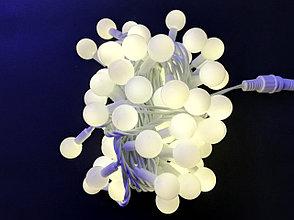 Светодиодная гирлянда НИТЬ ШАРИКИ с повышенной степенью защиты, 10 м., теплый, провод белый
