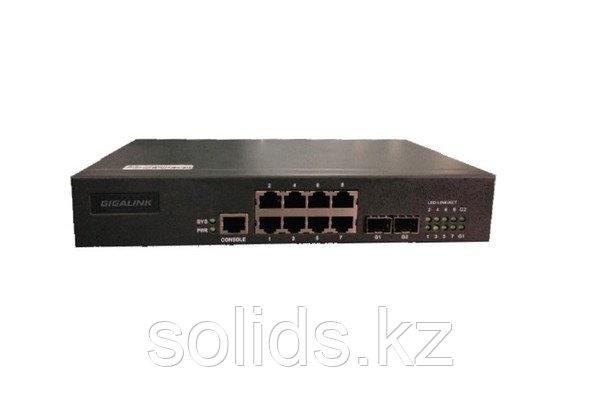 Управляемый коммутатор L2 GIGALINK 8 Base-T 10/100Mb/s портов, 2 SFP 1000Mb/s, 1 Console., шт
