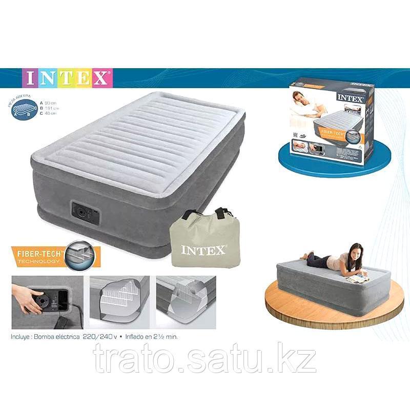 Односпальная надувная кровать со встроенным насосом, Intex 67766  191х99х33см