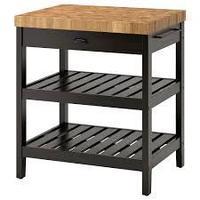 Кухонн стол-остров ВАДХОЛЬМА черный, дуб ИКЕА, IKEA