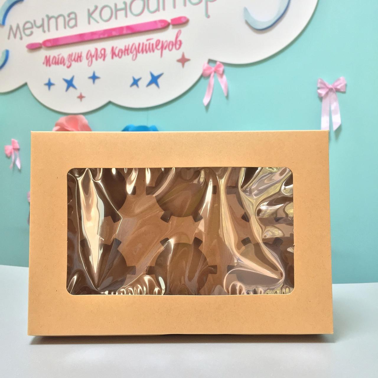 Коробка для кексов коричневая