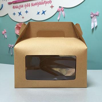 Крафт коробка с ручками для десертов с окном