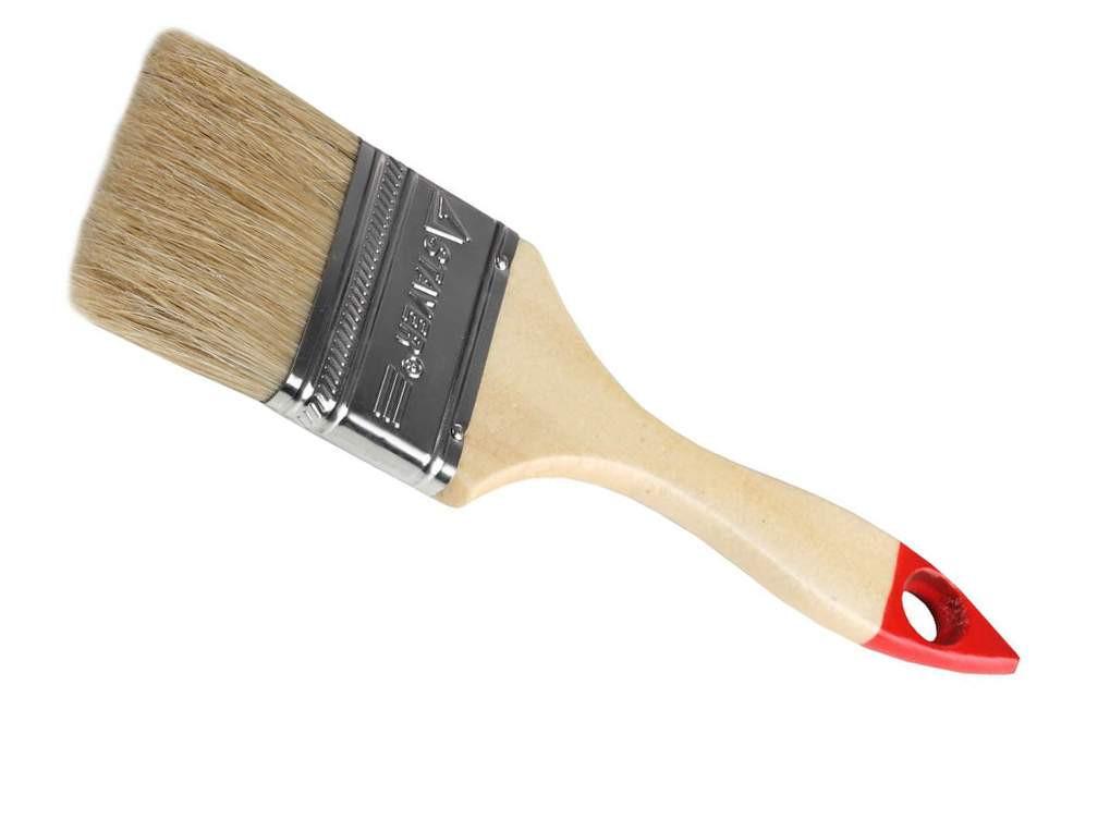 Кисть плоская Stayer Universal-Standart светлая натуральная щетина деревянная ручка 100 мм