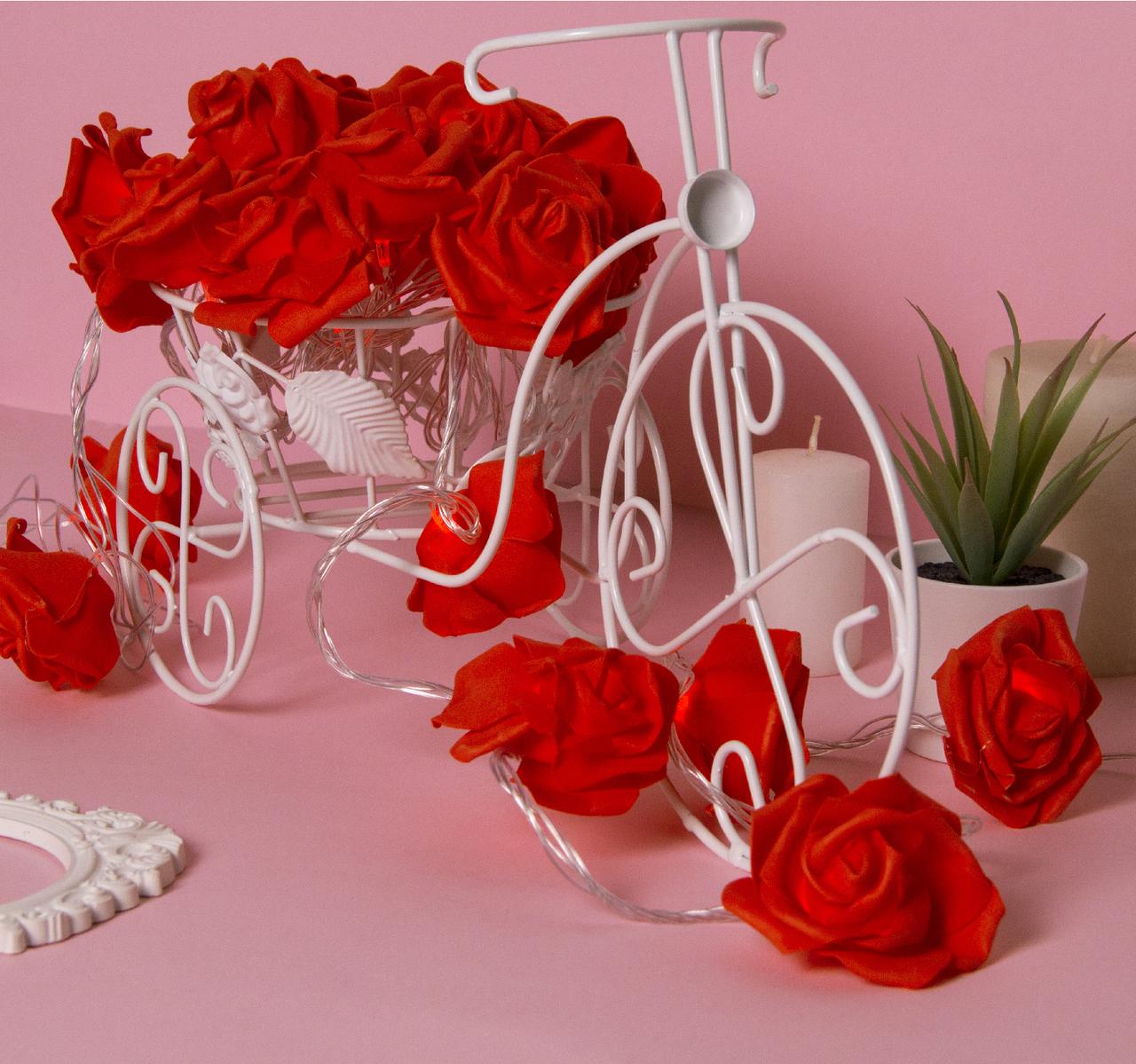 """НИТЬ с насадками 5 м """"Розы красные"""" 7 см, Н. С. УМС вилка, 20 LED-220V, фиксинг,КРАСНЫЙ"""