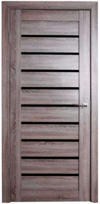 Дверь Техно 9, цвет Дуб серый, чёрное стекло