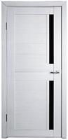 Дверь Техно 2, цвет Эшвайт, чёрное стекло