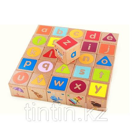 Деревянные кубики английский алфавит (26 шт), фото 2