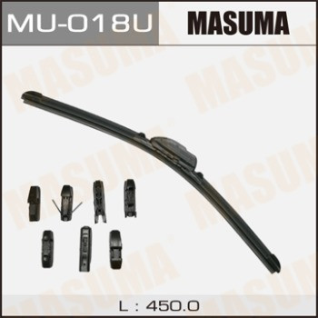 Щетка стеклоочистителя Masuma 18inch 450mm бескаркасная крепление J-hook, Pinch tab, Side pin, Claw, Push butt
