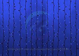 """Гирлянда """"Светодиодный Дождь"""" 2х1,5м, постоянное свечение, черный провод, 230 В, диоды СИНИЕ, 360 LED"""