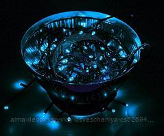 """Гирлянда """"Твинкл Лайт"""" 10 м, черный ПВХ, 100 диодов, цвет синий"""