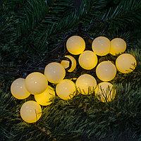"""Светодиодная гирлянда """"Шарики"""" - 5 метров, не моргающий, каждый шарик 4 см (нежно лимонный свет)"""