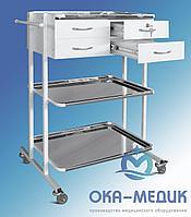 Столик мед. анестезиолога СМа-9«Ока-Медик» (3 нерж. полки, 4 ящика, 1 ящ.- с замком )