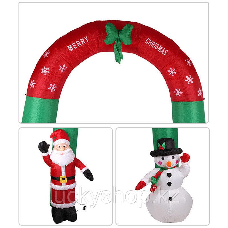 Новогодняя арка, дед мороз, снеговик, елки, новогодние игрушки, новогодние подарки