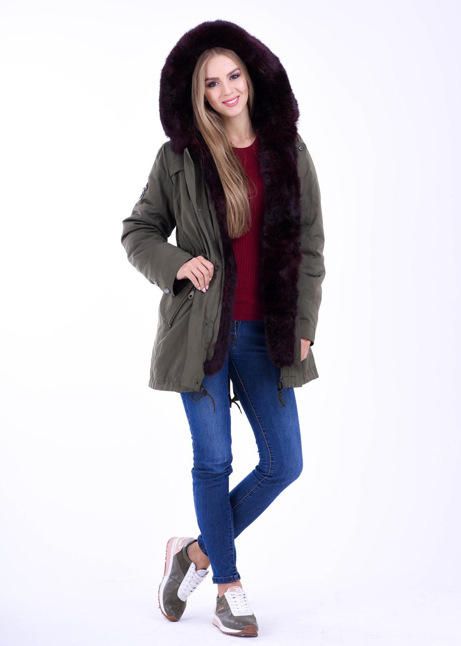 Женская зимняя меховая парка цвета ХАКИ