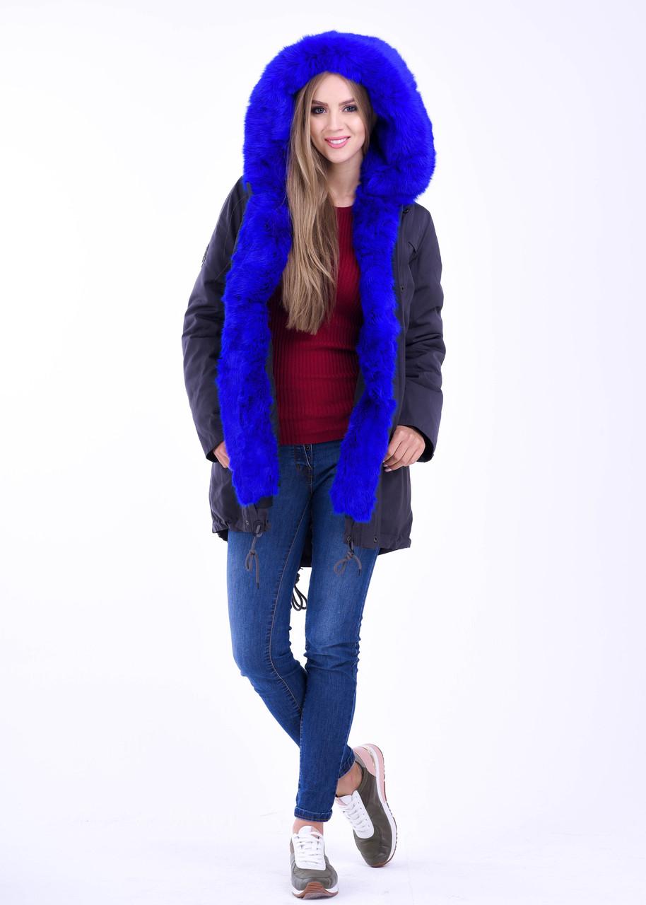 Зимняя меховая куртка парка яркого цвета синий электрик
