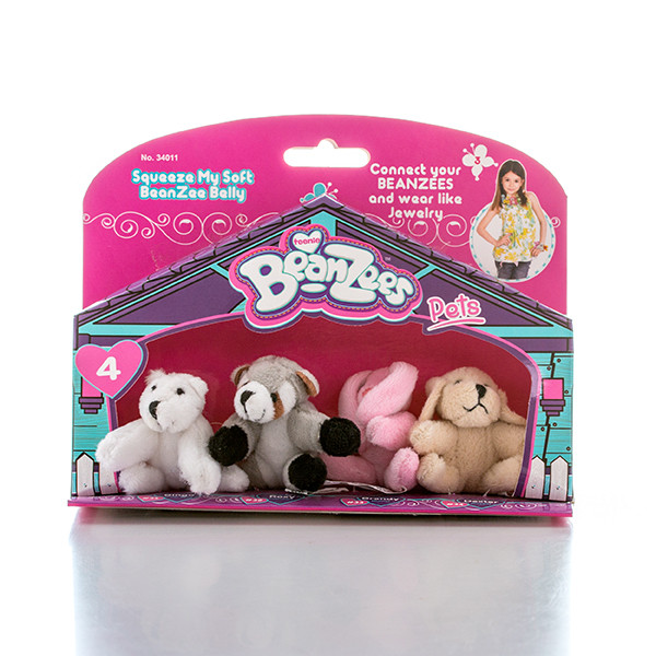 "Игрушка Beanzees мини плюш в наборе ""Медведь, Енот, Кролик, Песик"""