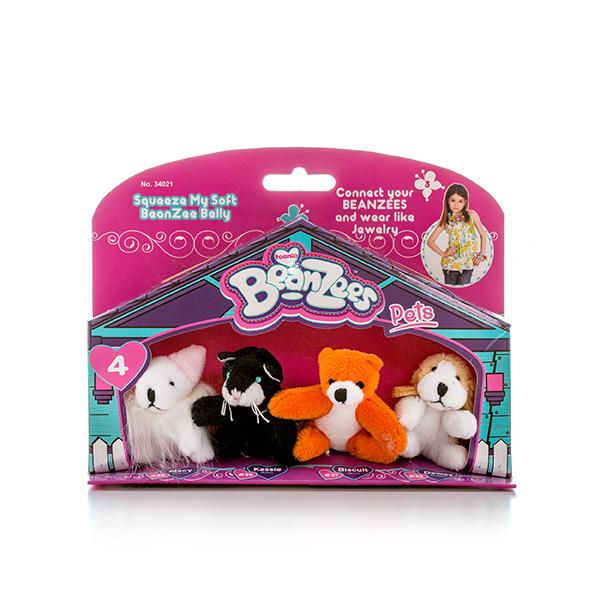 """Игрушка Beanzees мини плюш в наборе  """"Мышка, Котик, Медведь, Песик"""""""