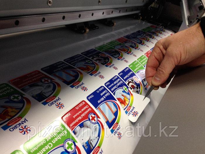 Печать наклеек, стикеров с контурной резкой на виниловой пленке