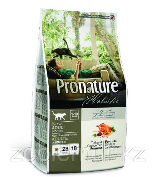 Pronature Holistic Adult Indoor - для домашних кошек, индейка с клюквой 5.44 кг.
