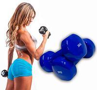 Гантели с виниловым покрытием для фитнеса {пара} (4LB (2 кг))