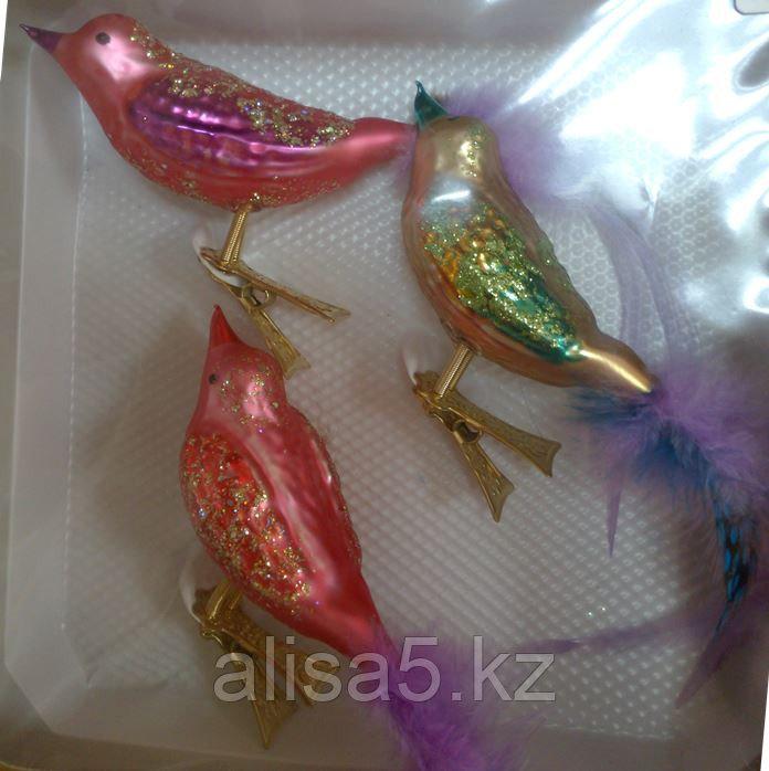 Шар-игрушка ёлочная птичка 3 шт, упаковка