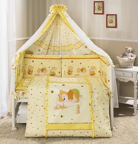 Комплект в кроватку Perina Ника Мишка на подушке Бежевые 4 предметов - Perina (Беларусь)