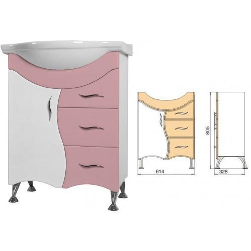 Напольная тумба с раковиной Ювента Briz 65, розовая