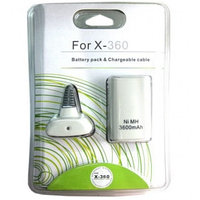 Аккумулятор на джойстик Xbox 360 Rechargeable Battery Pack + Charge Cable 3600mAh, белый