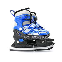 Детские раздвижные коньки, синие с меховой подкладкой In Line Skate, размер М (34-39), фото 1