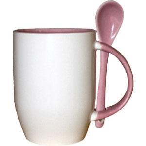 Кружка керамическая внутри розовая и ложка
