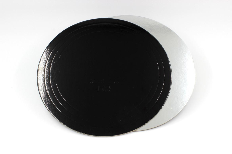 Pasticciere. Подложка черная/серебро D 300 мм ( Толщина 1,5 мм )*50 шт/упак