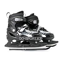 Детские раздвижные коньки, черные с меховой подкладкой In Line Skate, размер М (34-39), фото 1