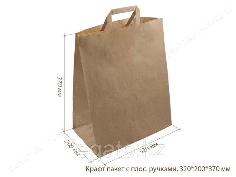 Пакет крафт с плоскими ручками 370*320*200