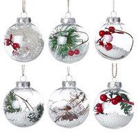 Пластиковые прозрачные елочные шары с новогодними композициями внутри (Набор 12 шт)