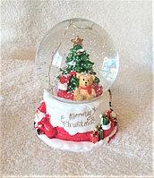 """Новогодние шары со снегом """"Мишка под ёлкой"""" (11см), фото 1"""
