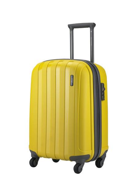 """Средний пластиковый чемодан на колесах """" Aotian """" желтого цвета"""