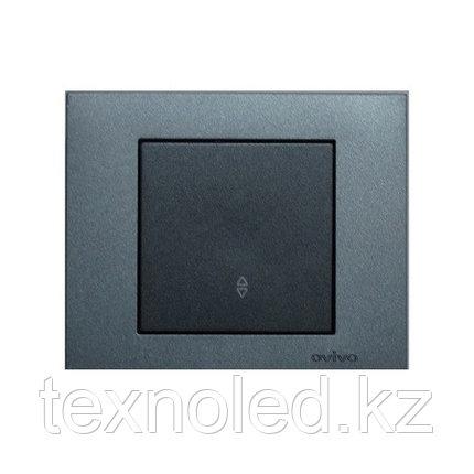 Выключатель 1-клавишный проходной Ovivo Grano дымчатый, фото 2