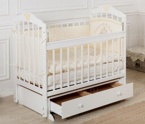 """Кровать детская Incanto """"Pali"""", (белая), с мишкой, маятник (продольный)"""