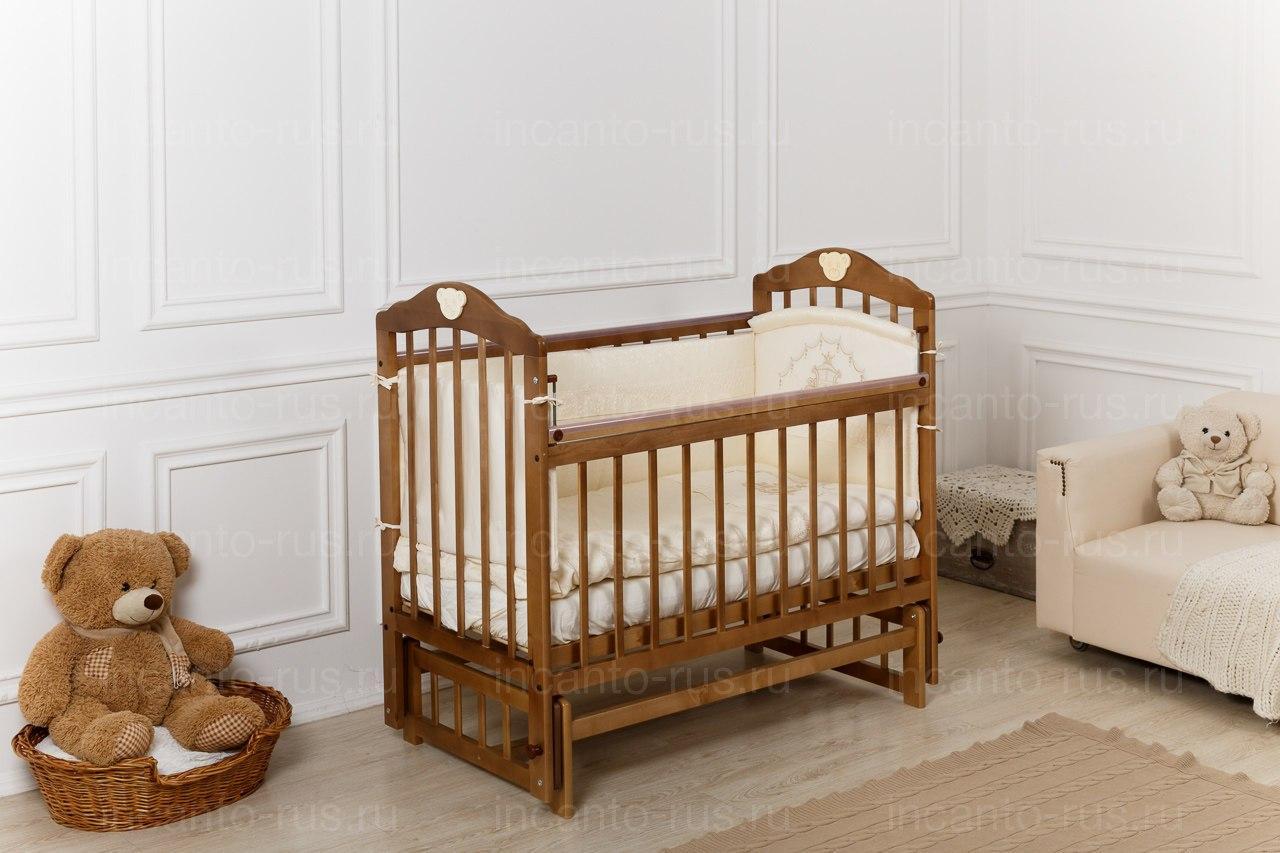 """Кровать детская Incanto """"Pali"""", (слоновая кость,орех) (маятник поперечный)"""