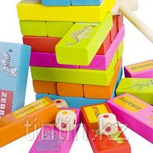 Настольная игра - Дженга с картинками и названиями животных, 54 брусков, фото 3